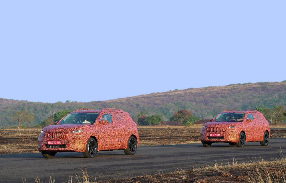 Primele imagini sub camuflaj cu noul SUV Skoda Kushaq: prezentare oficială în martie - Poza 4