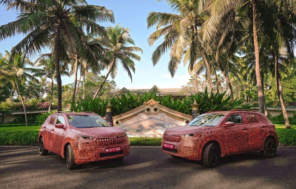 Primele imagini sub camuflaj cu noul SUV Skoda Kushaq: prezentare oficială în martie - Poza 1