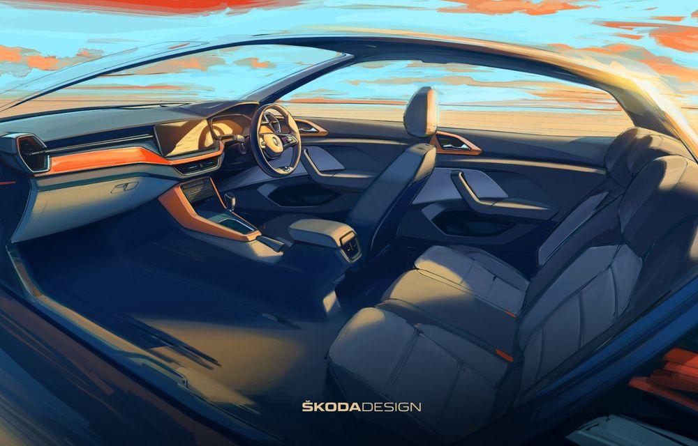 OFICIAL: Primele schițe cu interiorul noului Skoda Kushaq, SUV-ul creat special pentru India - Poza 2