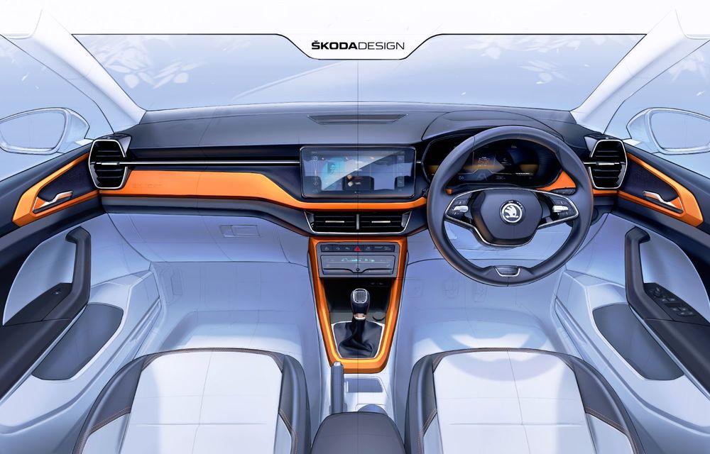OFICIAL: Primele schițe cu interiorul noului Skoda Kushaq, SUV-ul creat special pentru India - Poza 1