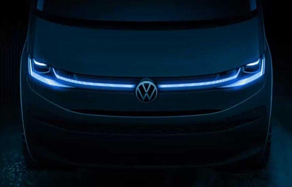 A șaptea generație Volkswagen Transporter: noua schiță de design dezvăluie varianta Multivan - Poza 1