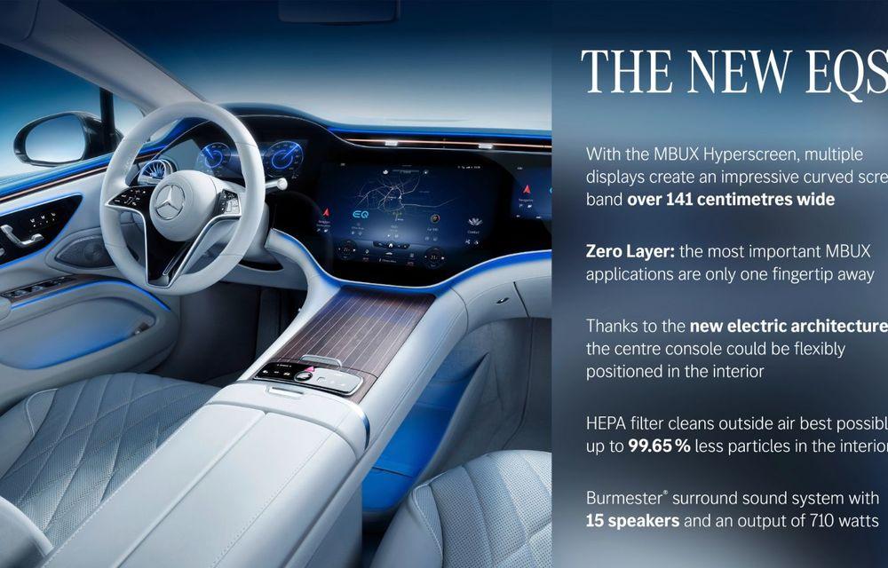 Mercedes a publicat primele imagini cu interiorul noului sedan electric EQS - Poza 12