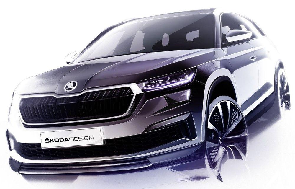Primele schițe cu Skoda Kodiaq facelift: prezentare în 13 aprilie - Poza 1