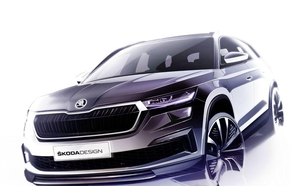 Primele schițe cu Skoda Kodiaq facelift: prezentare în 13 aprilie - Poza 2