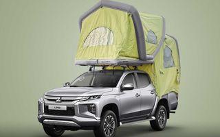 Mitsubishi comercializează în Germania un L200 cu un cort gonflabil montat pe plafon