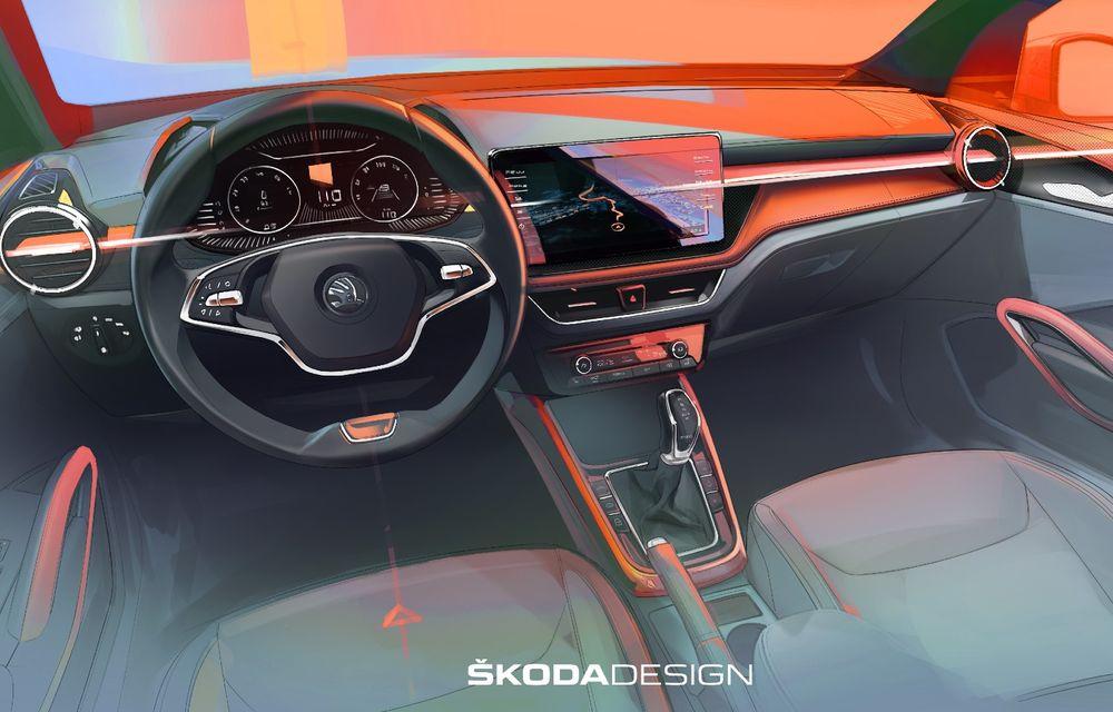 Prima schiță de design cu interiorul noii Skoda Fabia. Debutează la începutul lunii mai - Poza 1