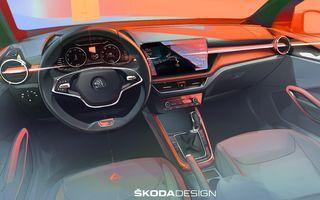 Prima schiță de design cu interiorul noii Skoda Fabia. Debutează la începutul lunii mai