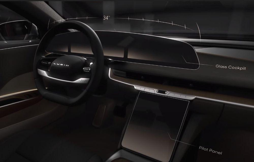Sedanul electric Lucid Air va avea display curbat de 34 inch și ecran retractabil pentru climatizare - Poza 1
