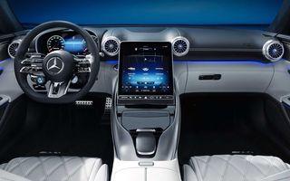 Primele imagini cu interiorul noului Mercedes-Benz SL: configurație 2+2 și ecrane preluate de la Clasa S