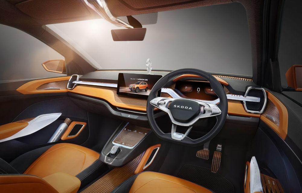 Skoda a prezentat noul concept Vision IN: grilă frontală iluminată și accesorii din cristale - Poza 2